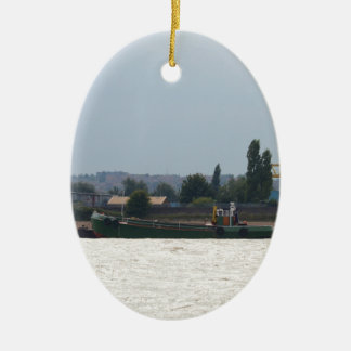 Tug and Dredger Lady Kitty. Double-Sided Oval Ceramic Christmas Ornament