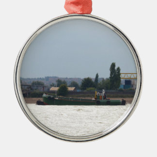 Tug and Dredger Lady Kitty. Round Metal Christmas Ornament
