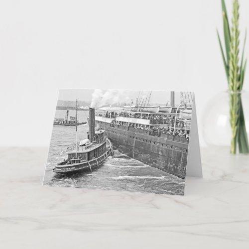 Tug Assists Departing Ocean Liner Card