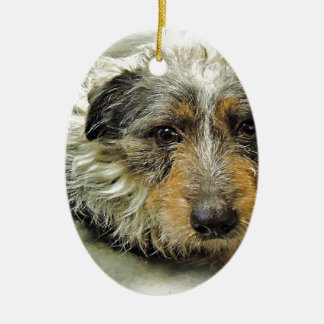 Tug at Heart Corgi Terrier Mix Dog Ceramic Ornament