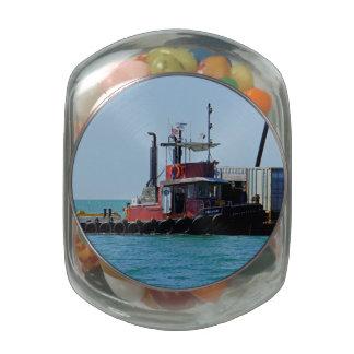 Tug at Work Glass Candy Jar