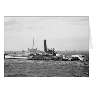 Tug, Barges & Ellis Island Card