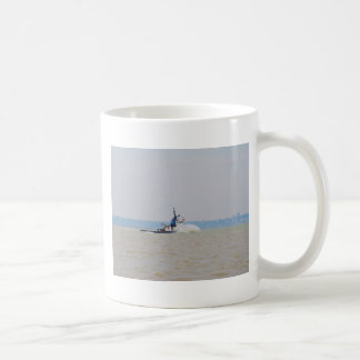 Tug Boat Battling Wind And Tide Coffee Mug