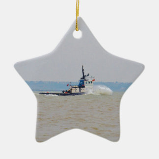 Tug Boat Battling Wind And Tide Double-Sided Star Ceramic Christmas Ornament