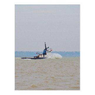 Tug Boat Battling Wind And Tide Postcard