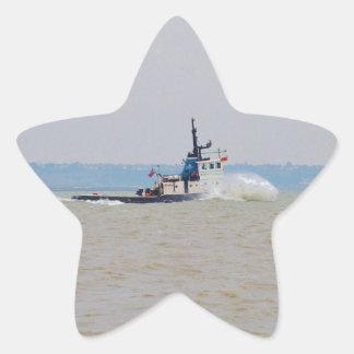 Tug Boat Battling Wind And Tide Star Sticker