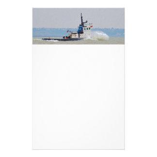 Tug Boat Battling Wind And Tide Stationery Design
