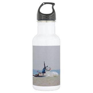 Tug Boat Battling Wind And Tide Water Bottle