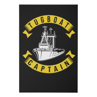 Tug Boat Captain Faux Canvas Print