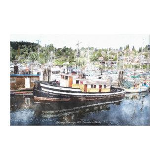Tug Boat Fishing Canadian Marina Watercolour Art Gallery Wrapped Canvas