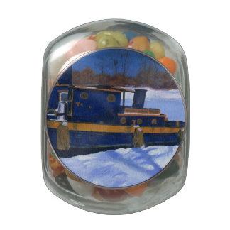 Tug Boat Glass Candy Jar