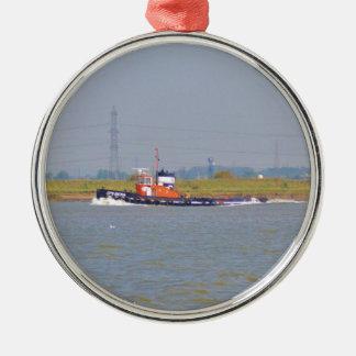 Tug Boat GPS Iberia Round Metal Christmas Ornament