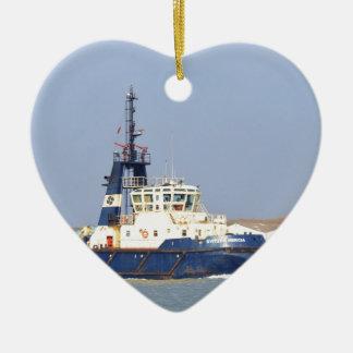 Tug Boat Mercia Double-Sided Heart Ceramic Christmas Ornament