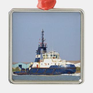 Tug Boat Mercia Square Metal Christmas Ornament