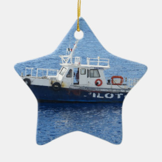 Tug Boat on Blue Water Double-Sided Star Ceramic Christmas Ornament