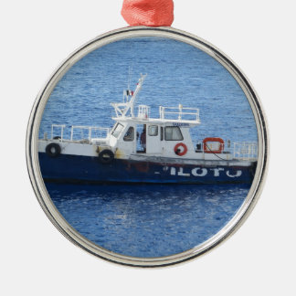 Tug Boat on Blue Water Round Metal Christmas Ornament
