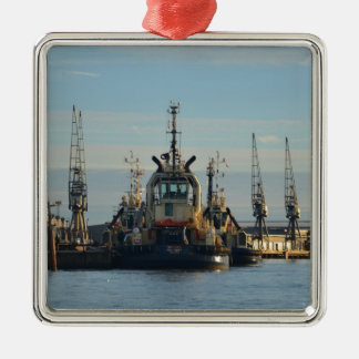 Tug Boat On The Medway Square Metal Christmas Ornament