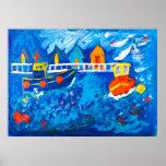Tug boats at sea acrylic painting by Kay Gale Poster