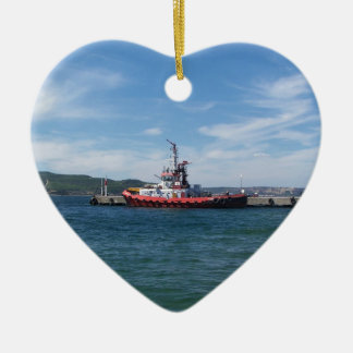 Tug In Harbor Double-Sided Heart Ceramic Christmas Ornament