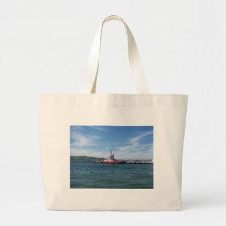 Tug In Harbor Large Tote Bag