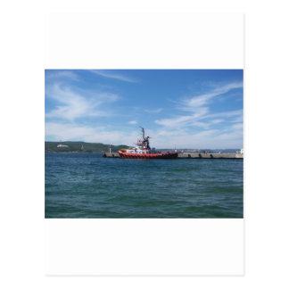 Tug In Harbor Postcard