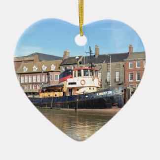 Tug Kingston Double-Sided Heart Ceramic Christmas Ornament