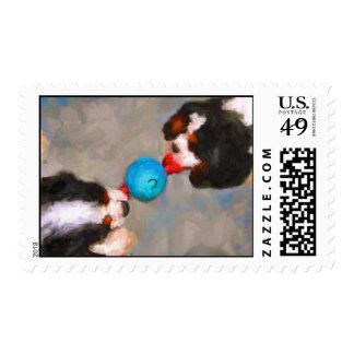 Tug of War Cavalier KC Spaniels Art Stamps