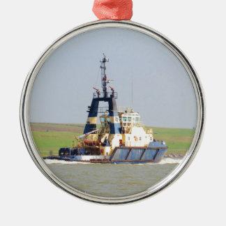 Tug Svitzer Mercia Round Metal Christmas Ornament