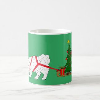 Tug the Samoyed pulling Christmas Tree Coffee Mug