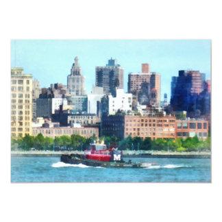 Tugboat Against Manhattan Skyline Card