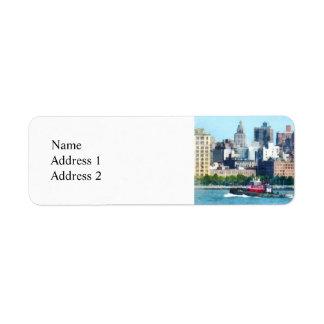 Tugboat Against Manhattan Skyline Labels