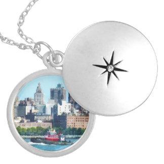 Tugboat Against Manhattan Skyline Round Locket Necklace
