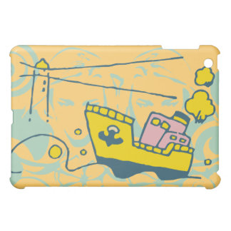 Tugboat and Lighthouse Gold  iPad Mini Cases