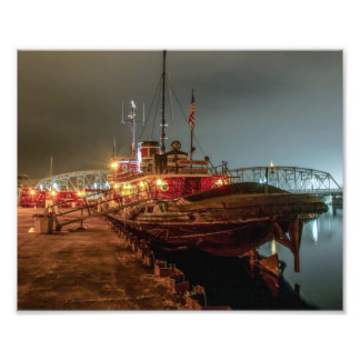 Tugboat at Night Door County Photography Print