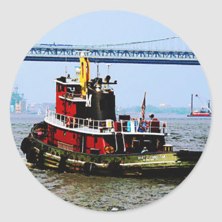 Tugboat at Penn's Land Philadelphia, PA Classic Round Sticker
