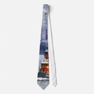 Tugboat by Manhattan Skyline Neck Tie