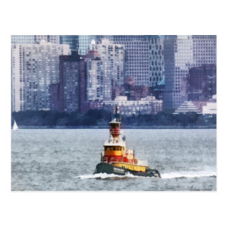 Tugboat by Manhattan Skyline Postcard