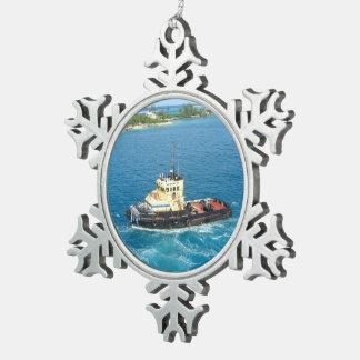 Tugboat in Nassau Snowflake Pewter Christmas Ornament