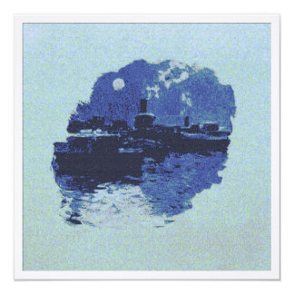 Tugboat in the Moonlight 5.25x5.25 Square Paper Invitation Card
