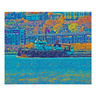 Tugboat On The Hudson Poster