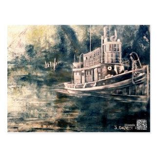 Tugboat Painting Postcard
