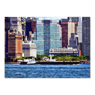 Tugboat Pushing Barge Near Manhattan Skyline Card