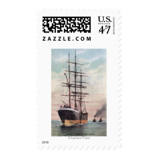 Tugboats Towing a Ship to Sea Stamp