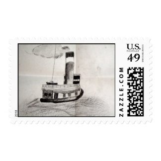 Tugging A lone Postage Stamps
