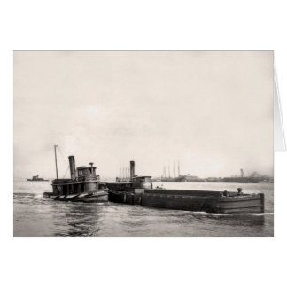 Tugs and Barge in Canal Card