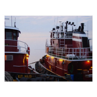 Tugs in the Harbor at  Poster