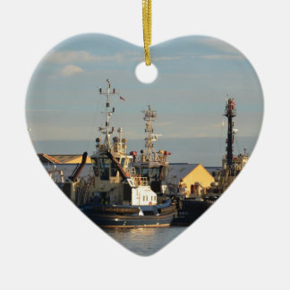Tugs on the Swale. Double-Sided Heart Ceramic Christmas Ornament