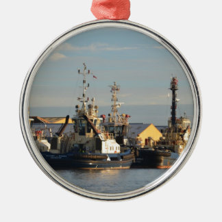 Tugs on the Swale. Round Metal Christmas Ornament