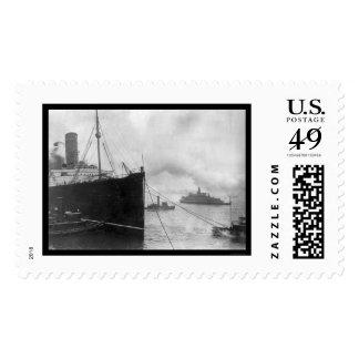 Tugs Pulling Lusitania 1914 Postage Stamp
