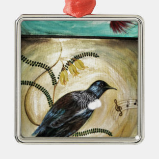 Tui and Flowers Metal Ornament
